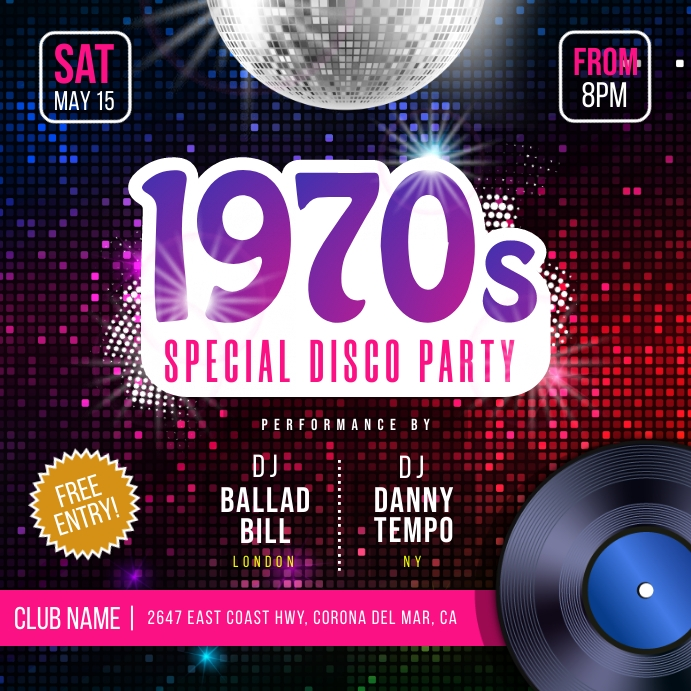 1970 Retro Dance Party Instagram Image template