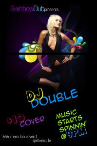 Pin-Up Paisley Ladies Club Retro DJ Venue Music Woman Female Event Flyer Rainbow Colorful