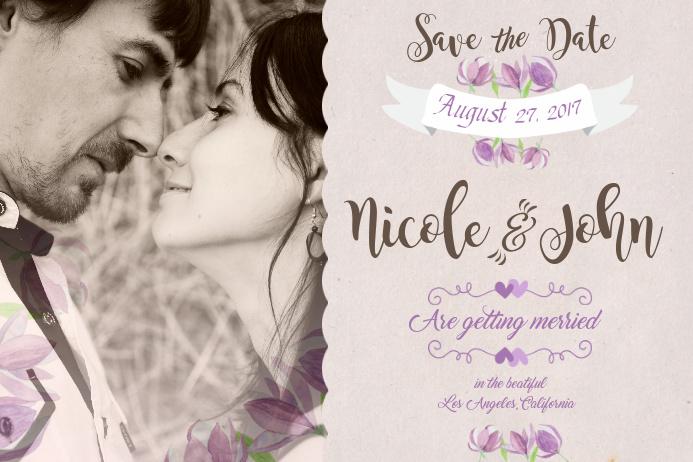 Wedding Invitation Postcard Template