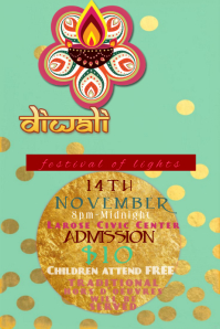 Diwali Gold Foil Flakes Holiday Event Festival of Lights Night Food Flyer