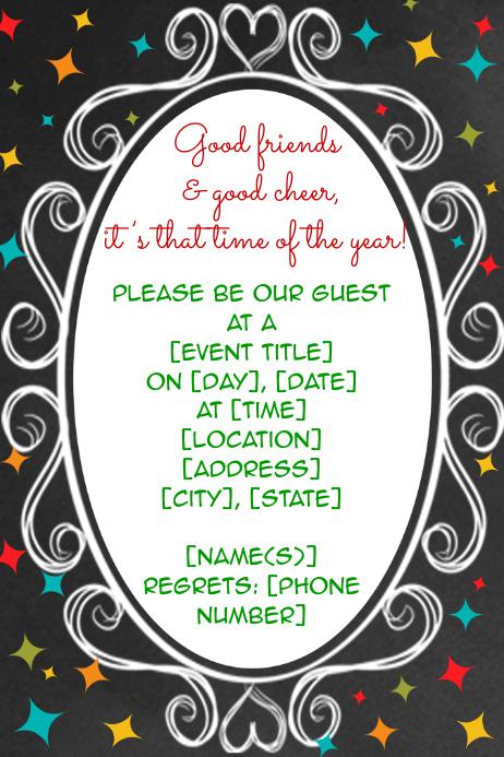 Chalkboard star frame invitation announcement flyer poster Template ...