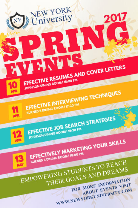 spring event schedule poster template postermywall. Black Bedroom Furniture Sets. Home Design Ideas