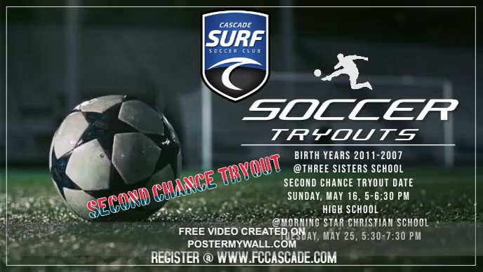 Surf SC 2021/22 Season Tryouts Facebook Cover Video (16:9) template