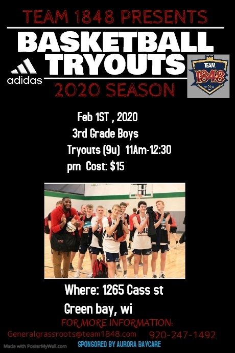 Basketball Tryouts High School Poster template
