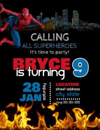 Spiderman Birthday Invitation Folder (US Letter) template