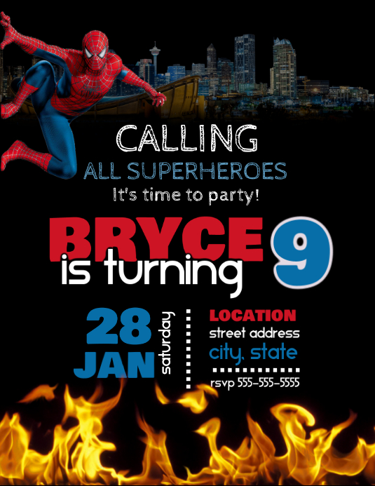 Spiderman Birthday Invitation Рекламная листовка (US Letter) template