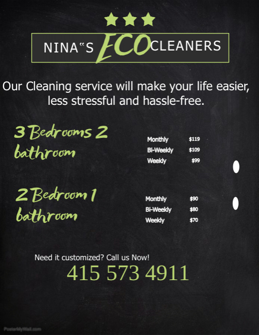 Copy Of Home Cleaning Service Price List Template Postermywall