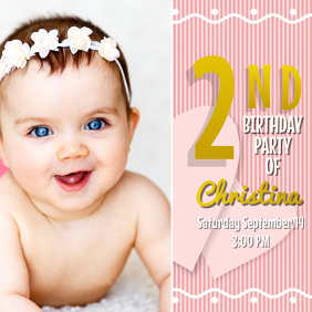 Baby Birthday Instagram Invitation Template