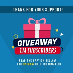 1M Subscribers Giveaway Thank You Instagram template