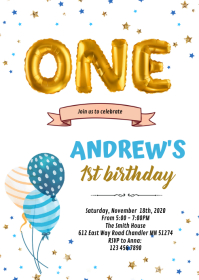 1st birthday card invitation