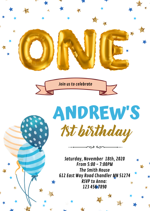 1st Birthday Card Invitation Template Postermywall