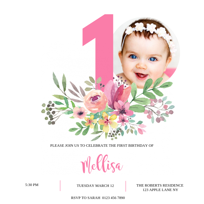 1ST BIRTHDAY CARD INVITATION Template