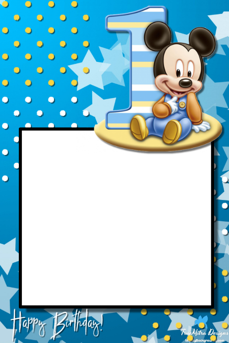 1st Birthday Party Prop Frame Template