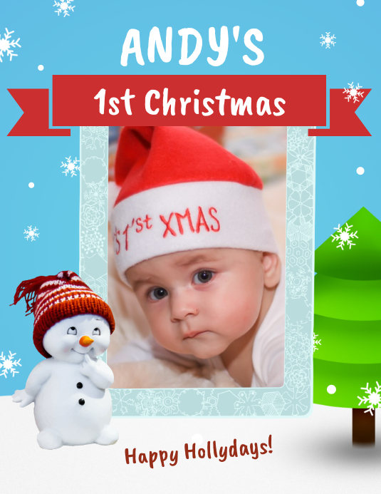 1st Christmas Greeting Card Flyer (Letter pang-US) template