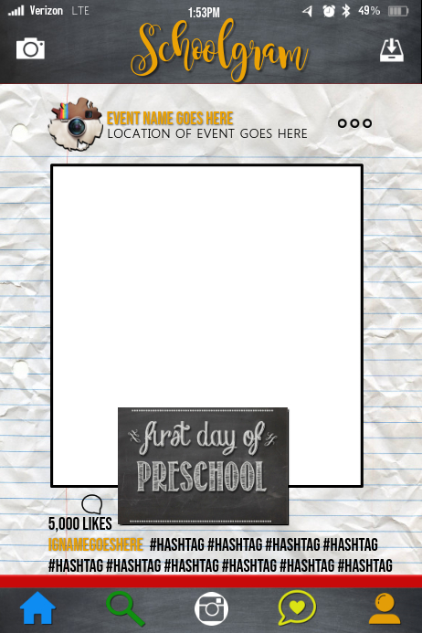 1st Day Of School Party Prop Frame Template Postermywall
