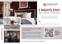2 night stay hotel voucher gift card template Postcard