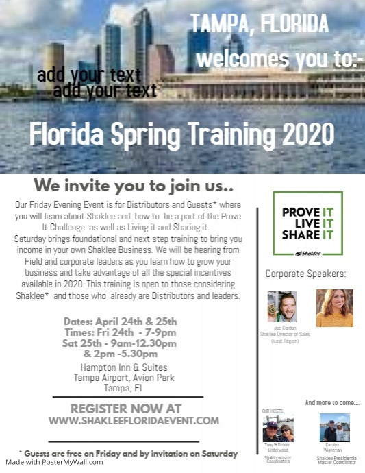 Tampa Living Proof & Boot Camp 2019 2019 Flyer (US Letter) template