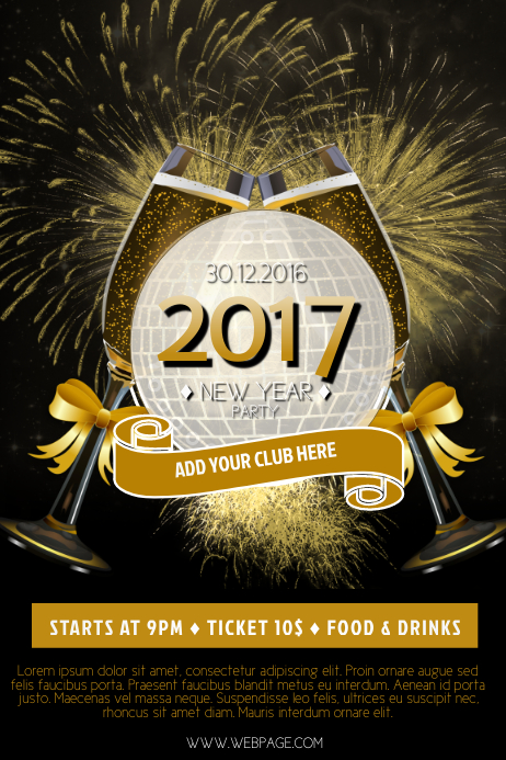 Customizable Design Templates For New Year Party Poster Template