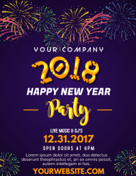 2018 new year 3 welcome 2018 new year party flyer