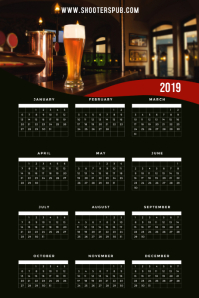2019 Calendar Bar Restaurant Template