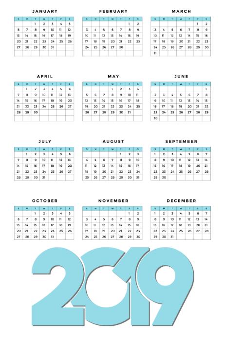 Modelli Calendario 2019.Modello Di Calendario 2019 Postermywall