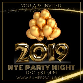 2019 New Years Party Night Video Template Instagram Post