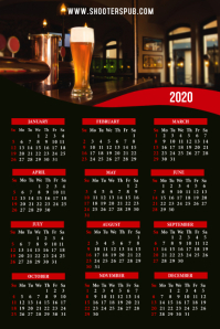 2020 Calendar Bar Restaurant Template