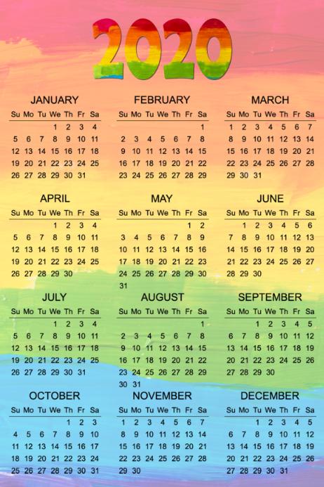 2020 Calendar Poster Template