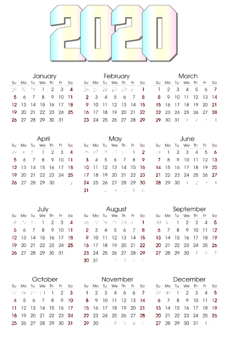 2020 calendar template postermywall. Black Bedroom Furniture Sets. Home Design Ideas