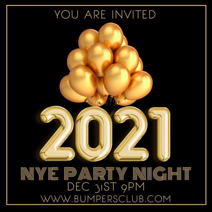 2021 New Years Party Night Video Template โพสต์บน Instagram