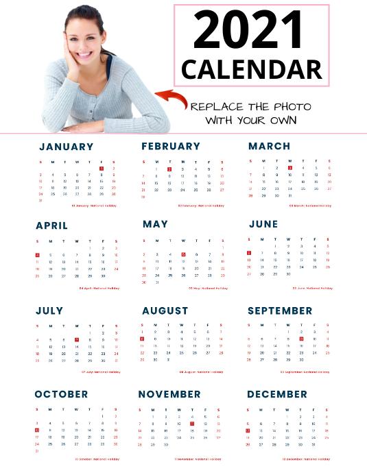2021 CALENDAR Template | PosterMyWall