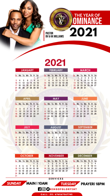 2021 calender Ecrã digital (9:16) template