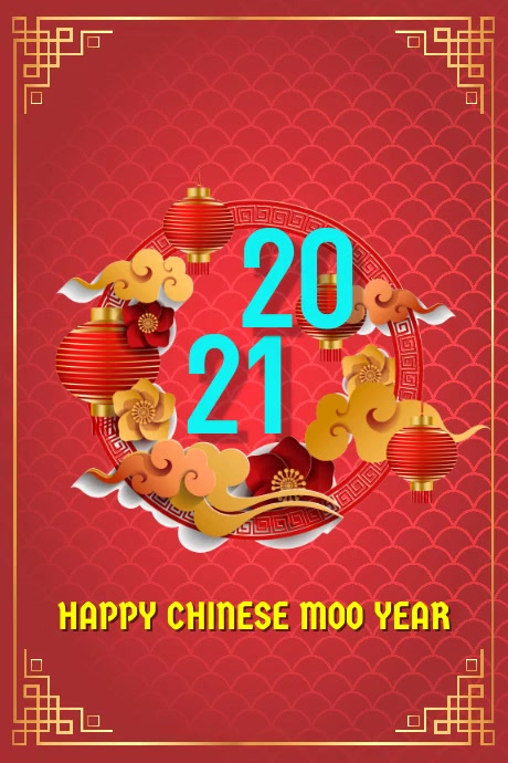 2021 Cow Chinese New year 002 Plakat template