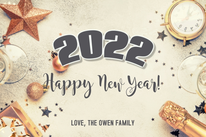 2021 Happy New Years Card Etiket template