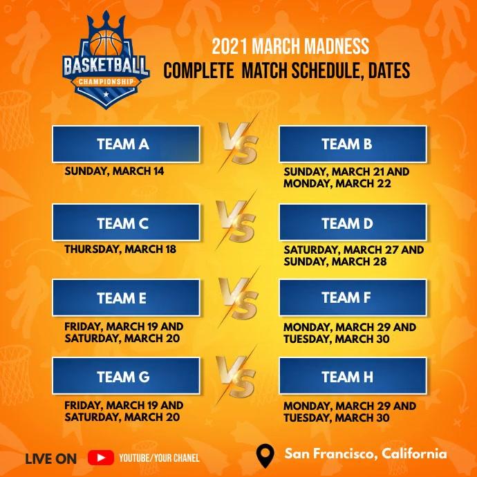 2021 March Madness Match schedule & dates Publicación de Instagram template