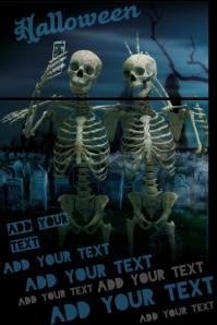Skeleton Selfie Halloween Muertos Party Event Graveyard Poster