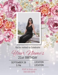 21ST Birthday Invitation Flyer (US-Letter) template