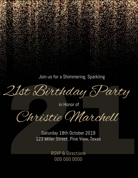 21st Birthday Invitation Template Postermywall