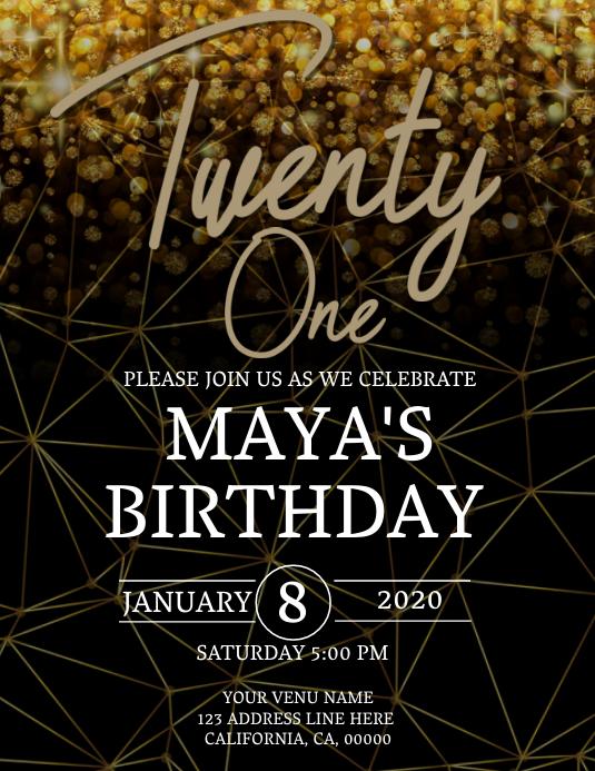 21st Birthday Invitation Template