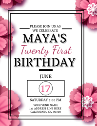 21st Birthday Invitation Template Flyer (US Letter)