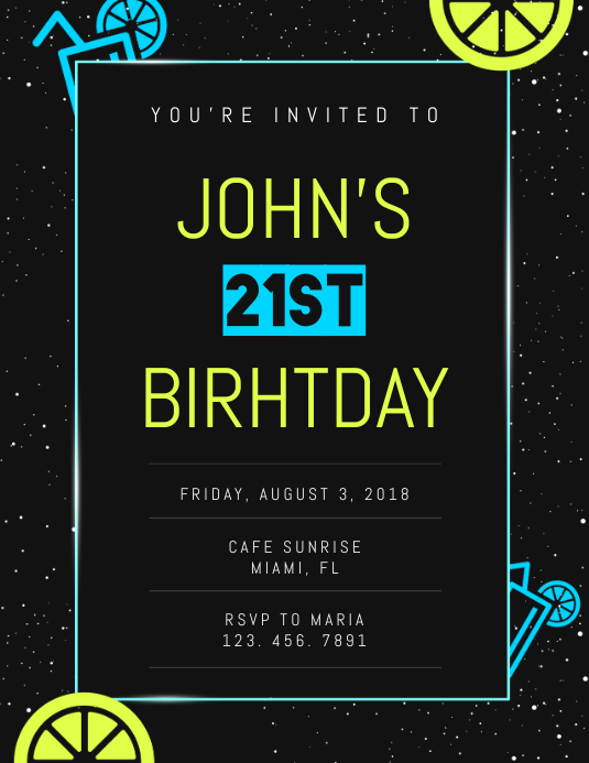 21st Birthday Invite Flyer Template Volante (Carta US)