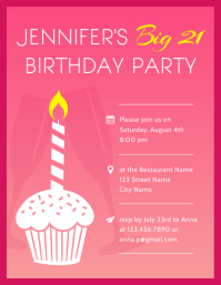 21st Birthday Party Invitation Flyer Template