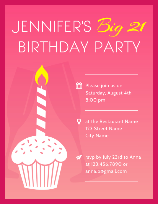 21st Birthday Party Invitation Flyer Template Pamflet (Letter AS)