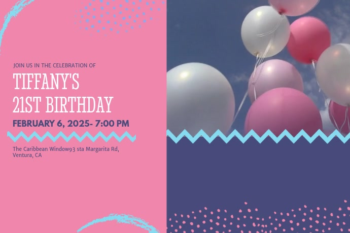 21st Birthday Party Invitation Video Template Poster