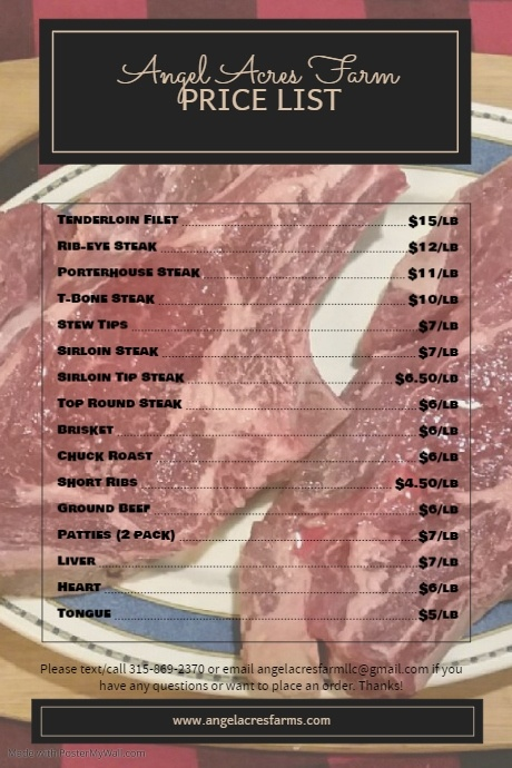Grass Fed Beef Price List Poster template
