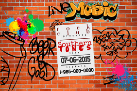 Bar Club Tavern Event Lounge Flyer Graffiti Spray Paint Brick Wall Ad Poster