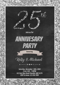 25 years anniversary invitation A6 template