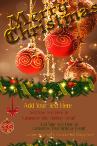 Christmas Holiday Party Invite Card Eve Bash Ornament Decor Retail Poster