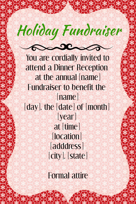 snowflake holiday christmas fundraiser reception event poster template