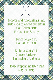 Masculine Plaid Golf Invitation Small Business Fundraiser